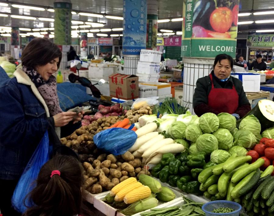 En el mercado en China.